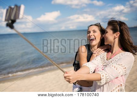 Friendly Selfie On Beach