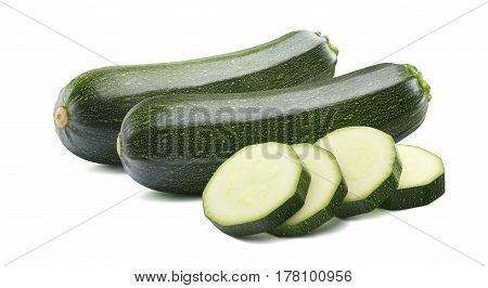 2 whole green zucchini and pieces isolated on white background as package design element