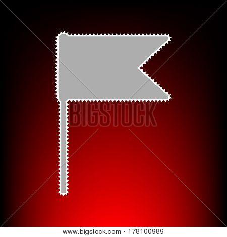 Flag sign illustration. Postage stamp or old photo style on red-black gradient background.