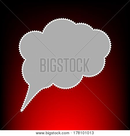 Speach bubble sign illustration. Postage stamp or old photo style on red-black gradient background.