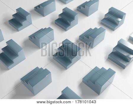 abstract grey blocks on white, 3d illustration