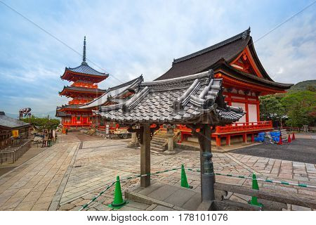 KYOTO, JAPAN - NOVEMBER 9, 2016: Architecture of the Kiyomizu-Dera Buddhist temple in Kyoto, Japan. Kiyomizu-dera built in 1633, is one of the most famous landmarks of Kyoto with UNESCO World Heritage