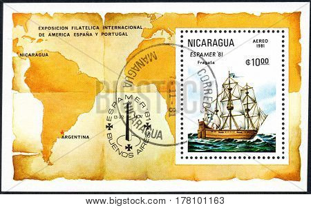 A stamp printed in Nicaragua shows Frigate Espamer '81 Stamp Exhibition Buenos Aires circa 1981