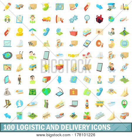 100 logistic and delivery icons set in cartoon style for any design vector illustration