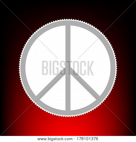 Peace sign illustration. Postage stamp or old photo style on red-black gradient background.