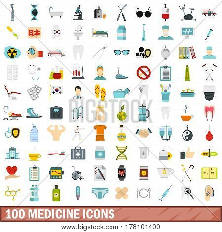 100 medicine icons set in flat style for any design vector illustration