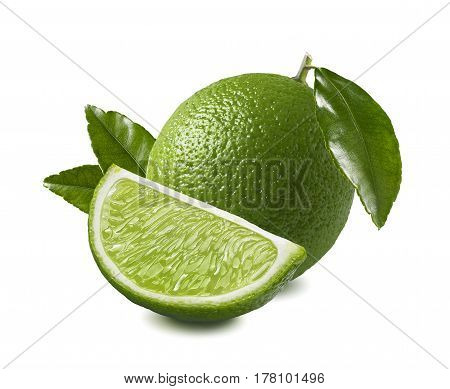 Whole lime quarter piece with leaf composition isolated on white background as package design element