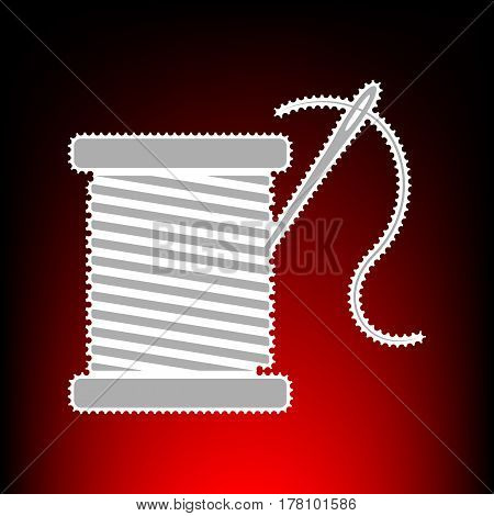 Thread with needle sign illustration. Postage stamp or old photo style on red-black gradient background.