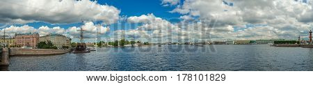 Panorama. Peter and Paul fortress, Hermitage. River Neva in Saint Petersburg, Russia.