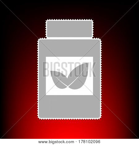 Supplements container sign. Postage stamp or old photo style on red-black gradient background.