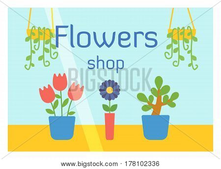 Flat design flowers shop facade icon store modern awning architecture window exterior and market front urban business showcase house vector illustration. Supermarket kiosk real estate.