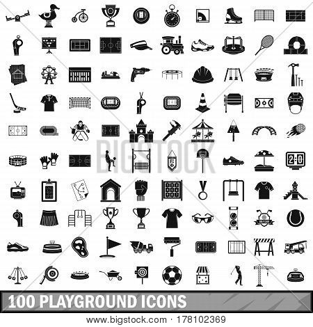 100 playground icons set in simple style for any design vector illustration