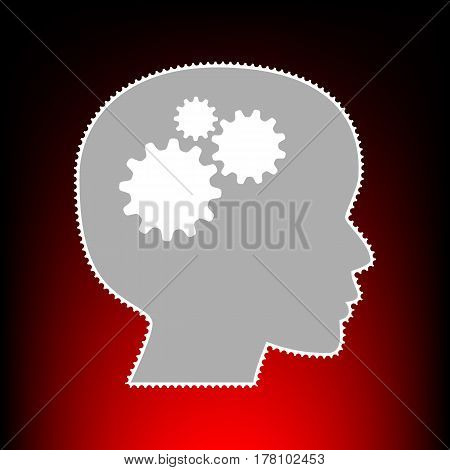 Thinking head sign. Postage stamp or old photo style on red-black gradient background.