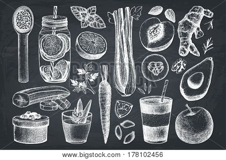 Vector collection of hand drawn vegetarian products sketch. Detox food and drinks ingredients illustration.