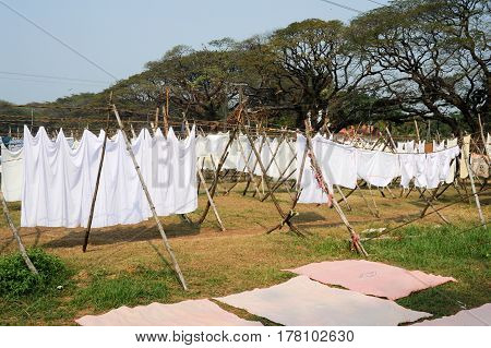 Linen drying at a Laundry of Fort Cochin on India