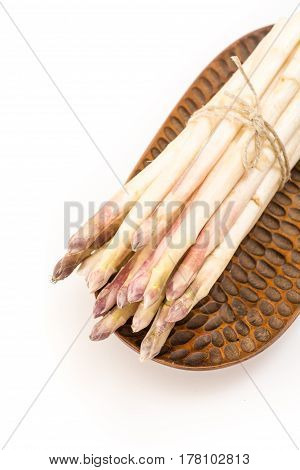White Asparagus On Wooden Decorative Plate Nd White Background