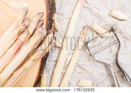 Bunch Of White Asparagus On  Wood Slice Cutting Board With Metallic Peeler,  On Crumpled Paper