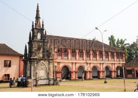 Fort Cochin India - 16 January 2015: People near che monument of Santa cruz secondary school at Fort Cochin on India