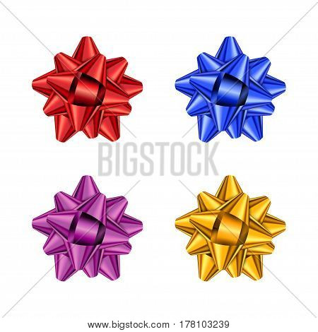 Set of color holiday bow on white background. Vector illustration for your design