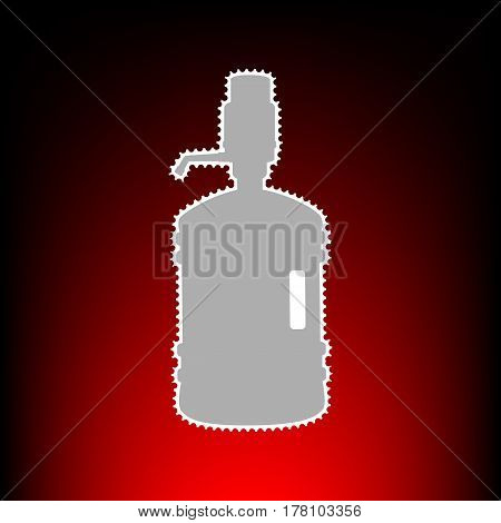 Plastic bottle silhouette with water and siphon. Postage stamp or old photo style on red-black gradient background.