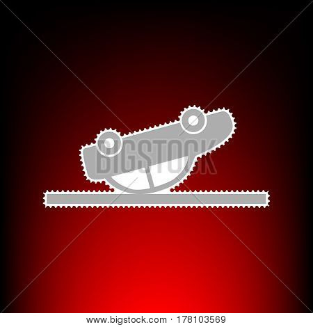 Crashed Car sign. Postage stamp or old photo style on red-black gradient background.