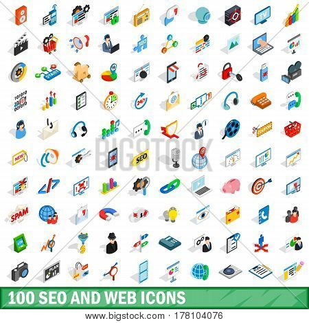 100 seo and web icons set in isometric 3d style for any design vector illustration
