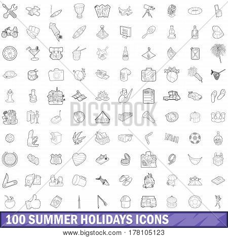 100 summer holidays icons set in outline style for any design vector illustration