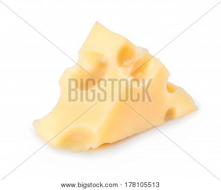 one cheese triangle isolated on white background. Piece of cheese with big holes. Maasdam cheese