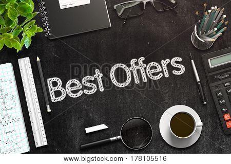 Best Offers on Black Chalkboard. 3d Rendering. Toned Image.