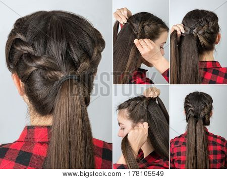 simple twisted hairstyle tutorial step by step. Easy hairstyle for long hair. Pony tail with braid. Hair tutorial