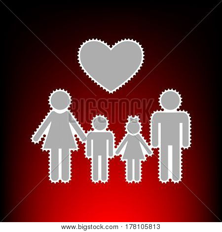 Family symbol with heart. Husband and wife are kept children's hands. Postage stamp or old photo style on red-black gradient background.