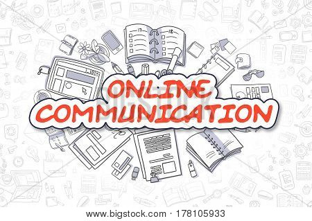 Online Communication Doodle Illustration of Red Word and Stationery Surrounded by Cartoon Icons. Business Concept for Web Banners and Printed Materials.