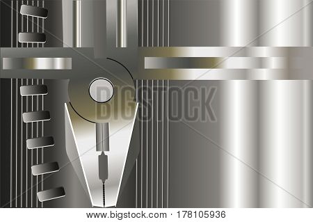 Silver background with pliers.  Metallic luster. Wallpaper.