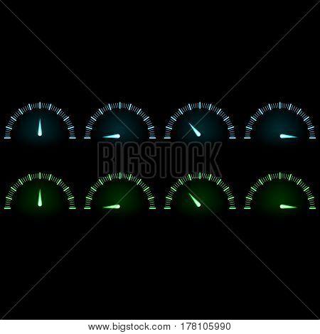 Sensor speed. Neon effect glow blue green