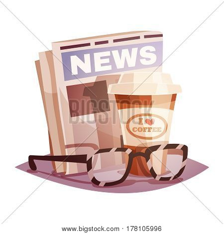 Coffee with a newspaper and glasses. Design concept. Vector illustration in retro cartoon style