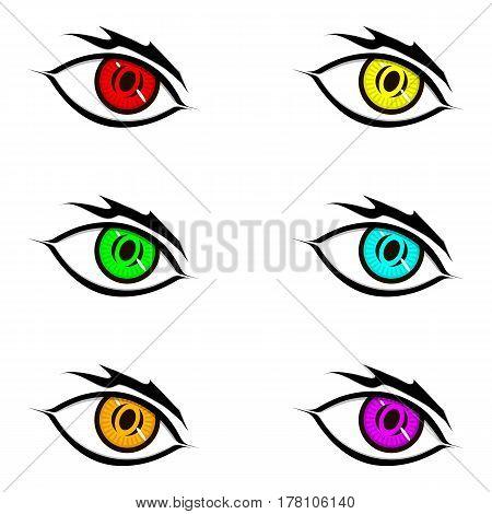 Eyes in flat style red yellow green blue orange purple black shine eyebrow eyelids