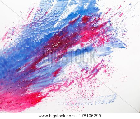 Creativity, abstract art, modern painting. Smeared blue and red colors on white background, fire and water. Creative abstractionism.