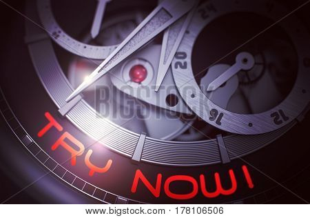 Try Now on Automatic Watch Detail, Chronograph Closeup. Mechanical Watch with Try Now Inscription on Face. Time Concept Illustration with Glow Effect and Lens Flare. 3D Rendering.