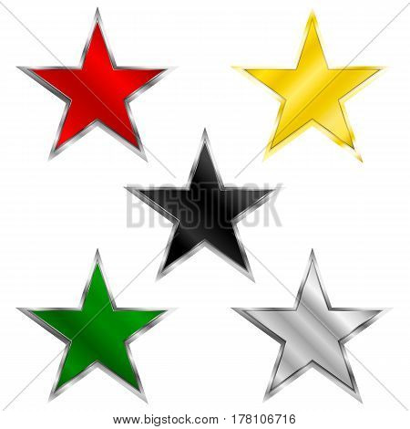 glossy stars black metal. silver gold red