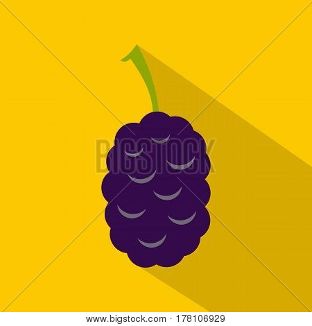 Fresh mulberry icon. Flat illustration of fresh mulberry vector icon for web isolated on yellow background