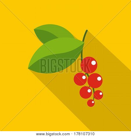 Red currants branch with green leaves icon. Flat illustration of red currants branch with green leaves vector icon for web isolated on yellow background