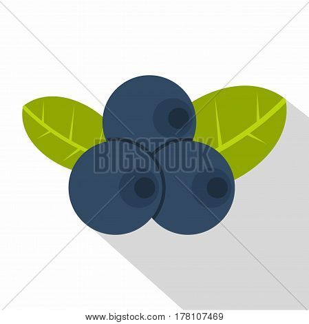 Fresh blueberries with leaves icon. Flat illustration of fresh blueberries with leaves vector icon for web isolated on white background