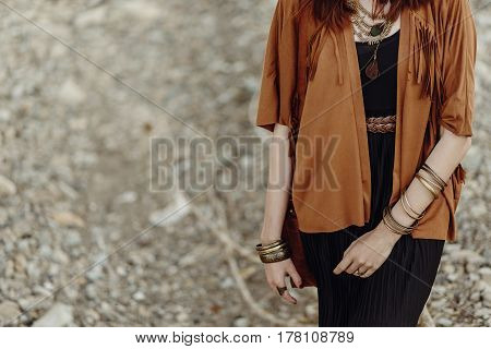Stylish Hipster Boho Traveler Woman Look. Gypsy Girl In Fringe Jacket With Lather Bag  And Accessory