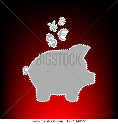 Piggy bank sign with the currencies. Postage stamp or old photo style on red-black gradient background.