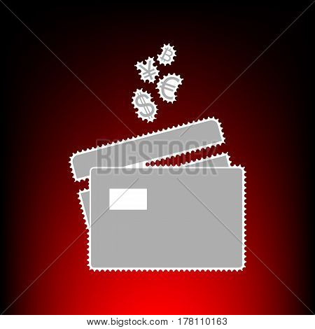 Credit cards sign with currency symbols. Postage stamp or old photo style on red-black gradient background.
