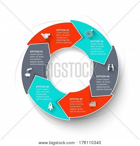 Vector arrows infographic. Template for cycle diagram, graph, presentation and chart. Business concept with 6 options, parts, steps or processes. Data visualization.