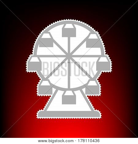 Ferris wheel sign. Postage stamp or old photo style on red-black gradient background.