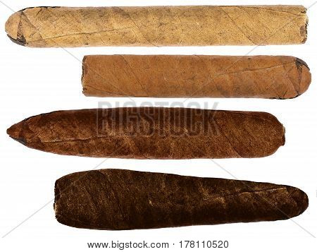 Collection of cigars of various shapes and colors isolated over white background