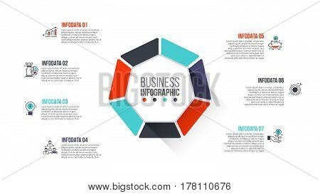Vector heptagon infographic. Template for cycle diagram, graph, presentation and chart. Business concept with 7 options, parts, steps or processes. Stroke icons.