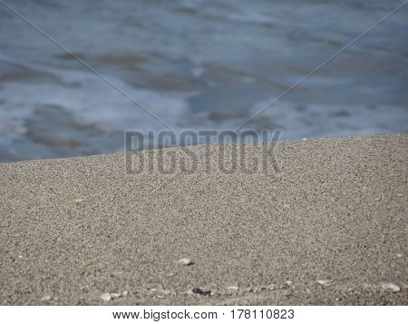 Closeup of sand beach with sea blurred background